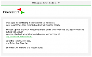 Ticket confirmation email