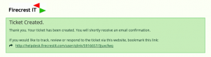 Ticket created confirmation