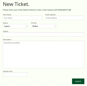 New Ticket entry screen